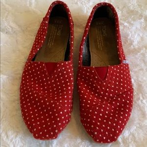 Toms Classics Red & White Dot Womens Shoes